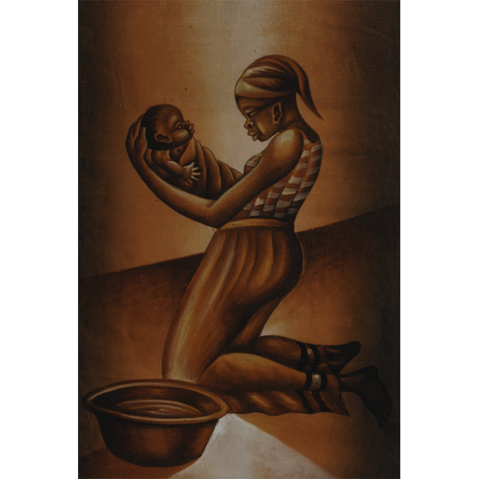 African painting on texitile mother and child