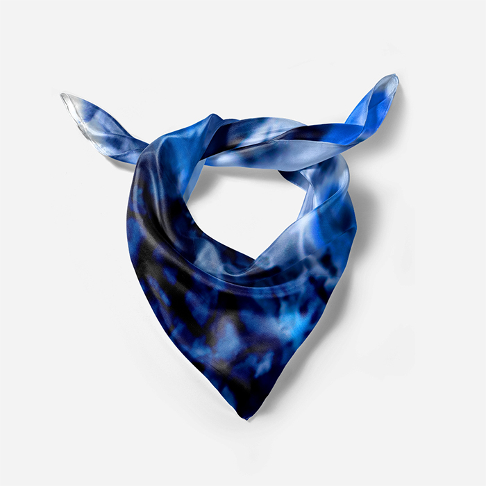 Blue black silk scarf 90 square