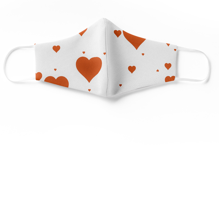 silk face mask red hearts